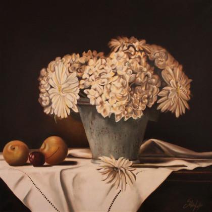 Fiori Bianchi cm 80 x 80 olio su tela